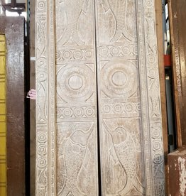 Indonesian Carved White Wash Door Set