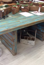 "73""X37""X29 1/2"" Distressed Blue Cypress Table"