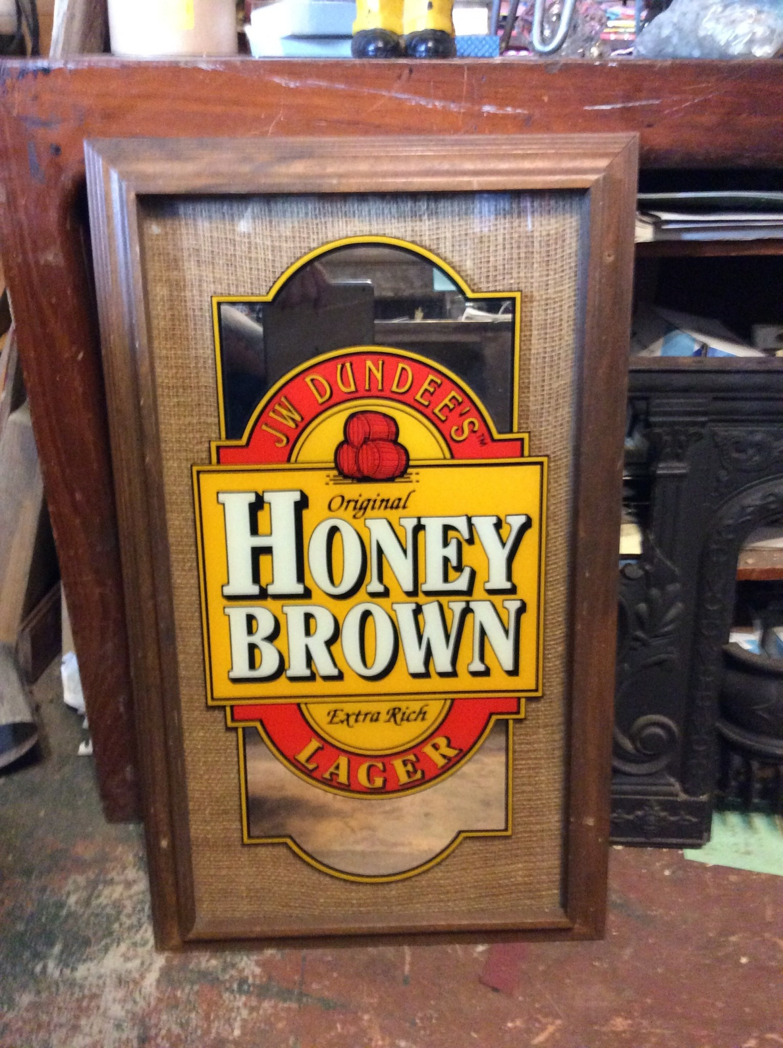 Honey Brown Mirrored Sign