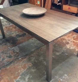 Grey dining table w/ metal base