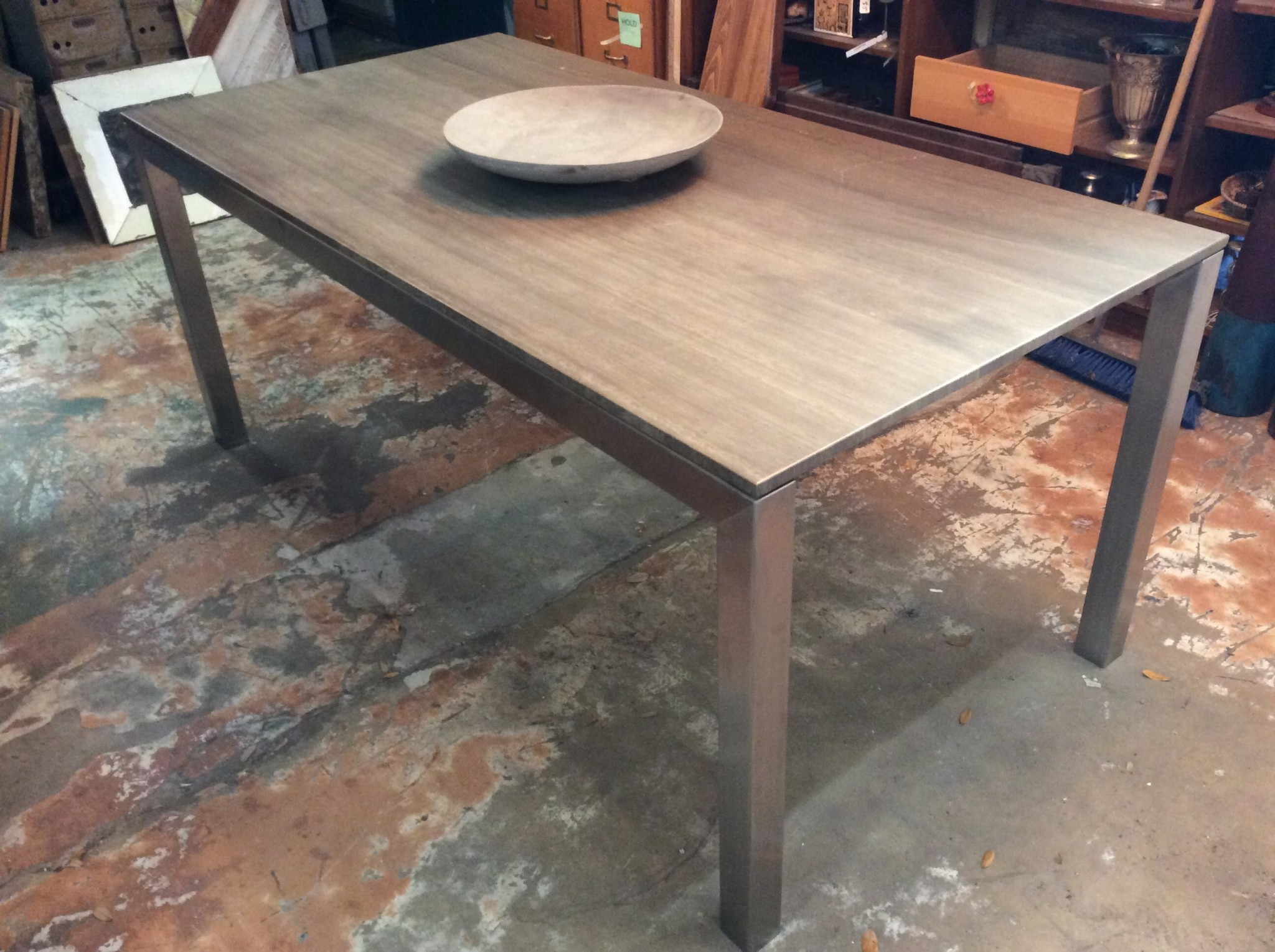 Grey Dining Table W Metal Base