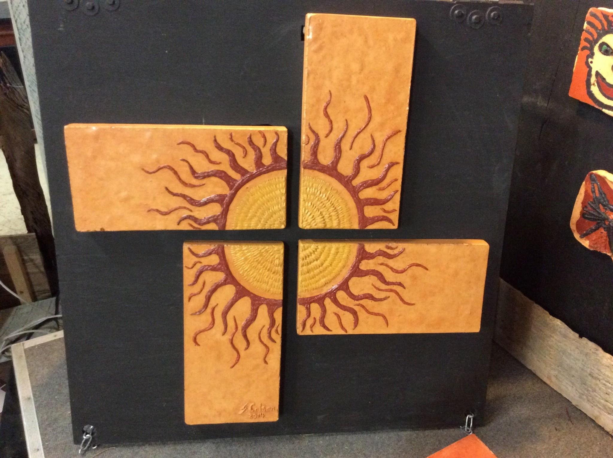Cast stone 4 panel sun