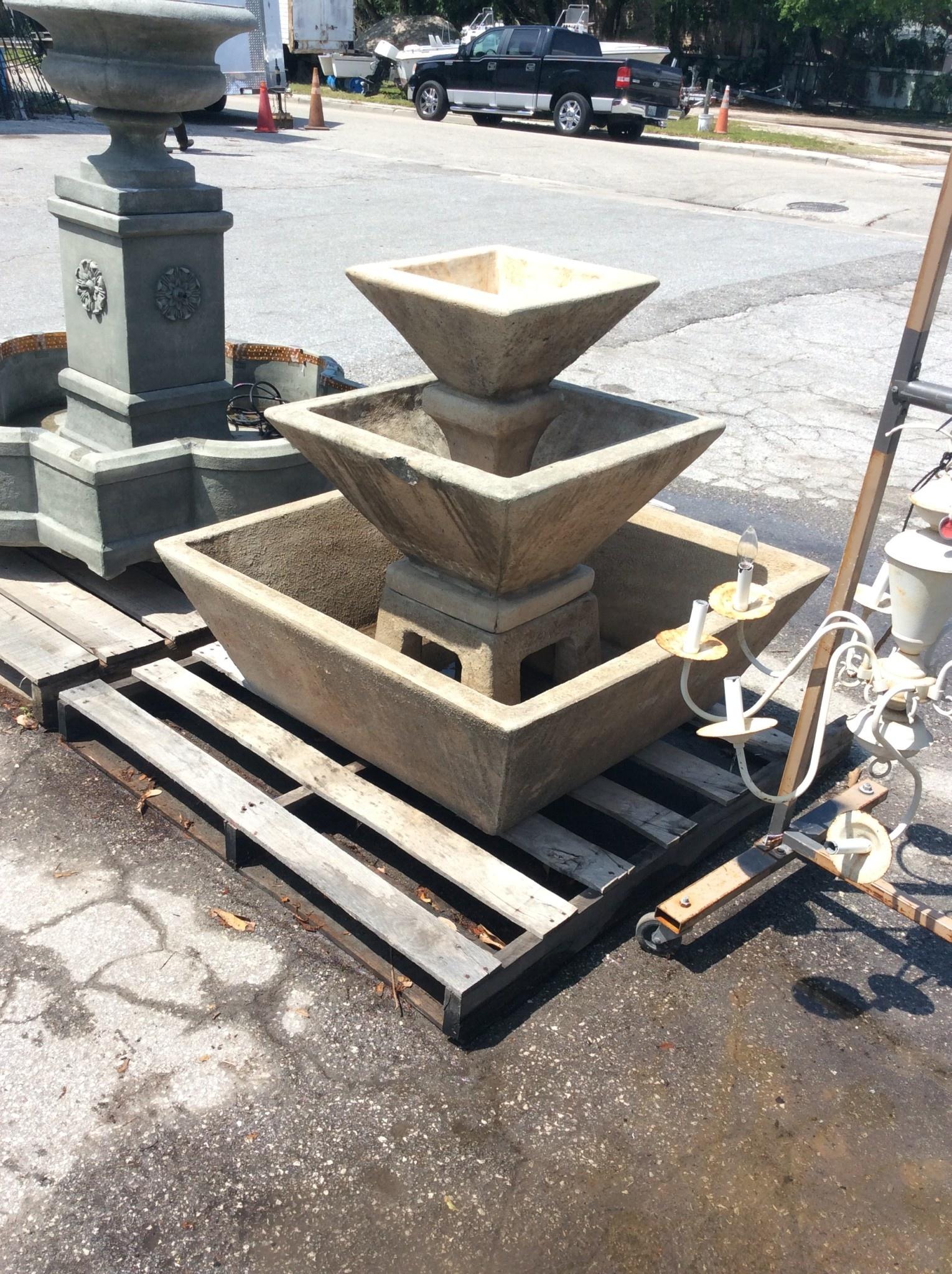3 tier square fountain