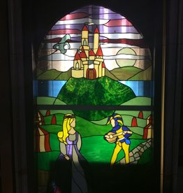 Stained glass jester and princess