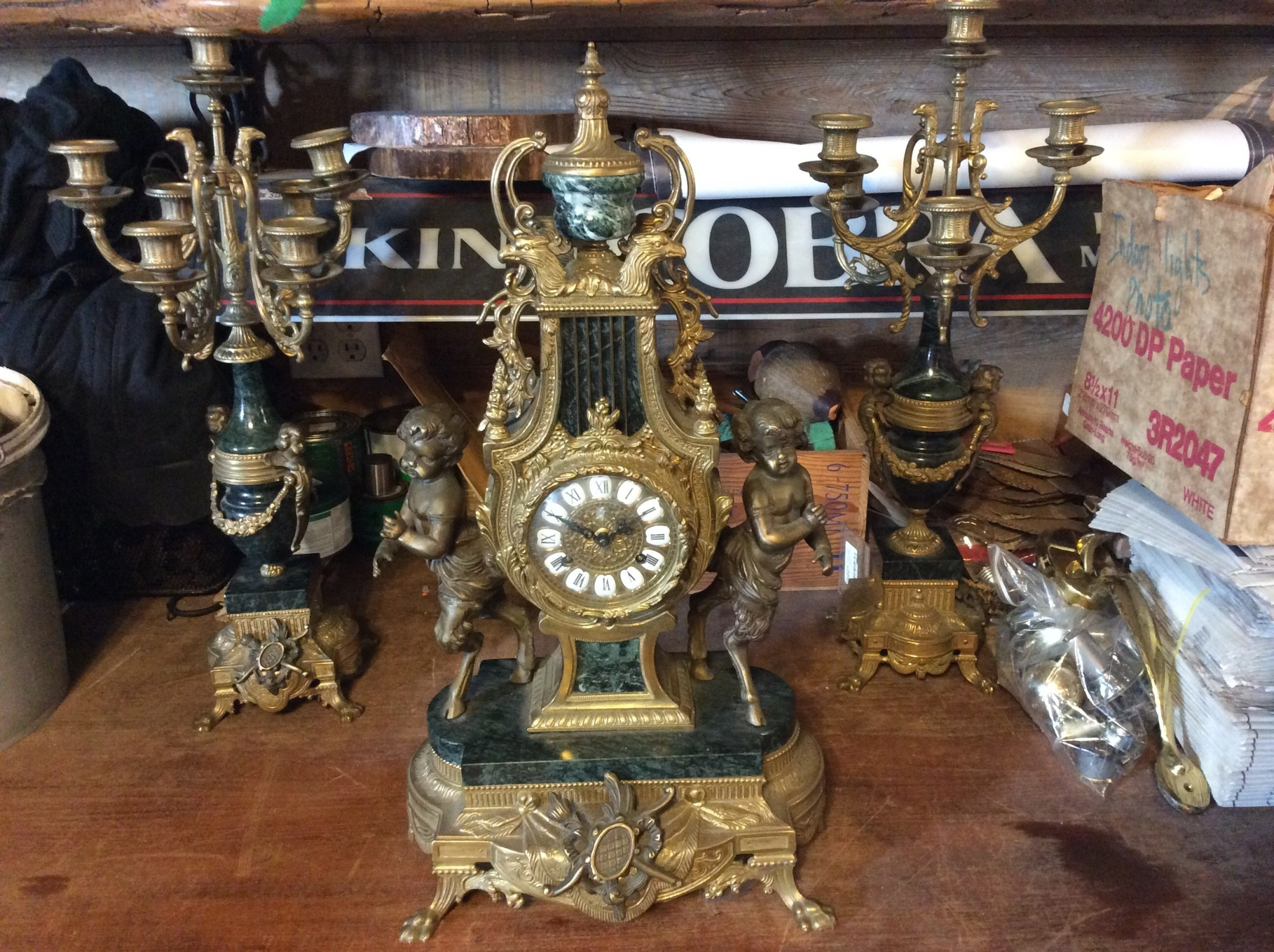 Ornate Brass and Marble Clock w/ Candle Holders