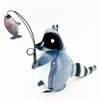 "Racoon with Fishing Rod 12 1/2""H x 28""L x 4 1/2""W"