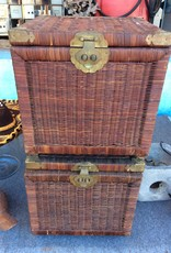 Brown wicker storage container