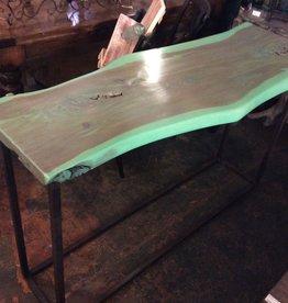 Green cedar console w/ iron base