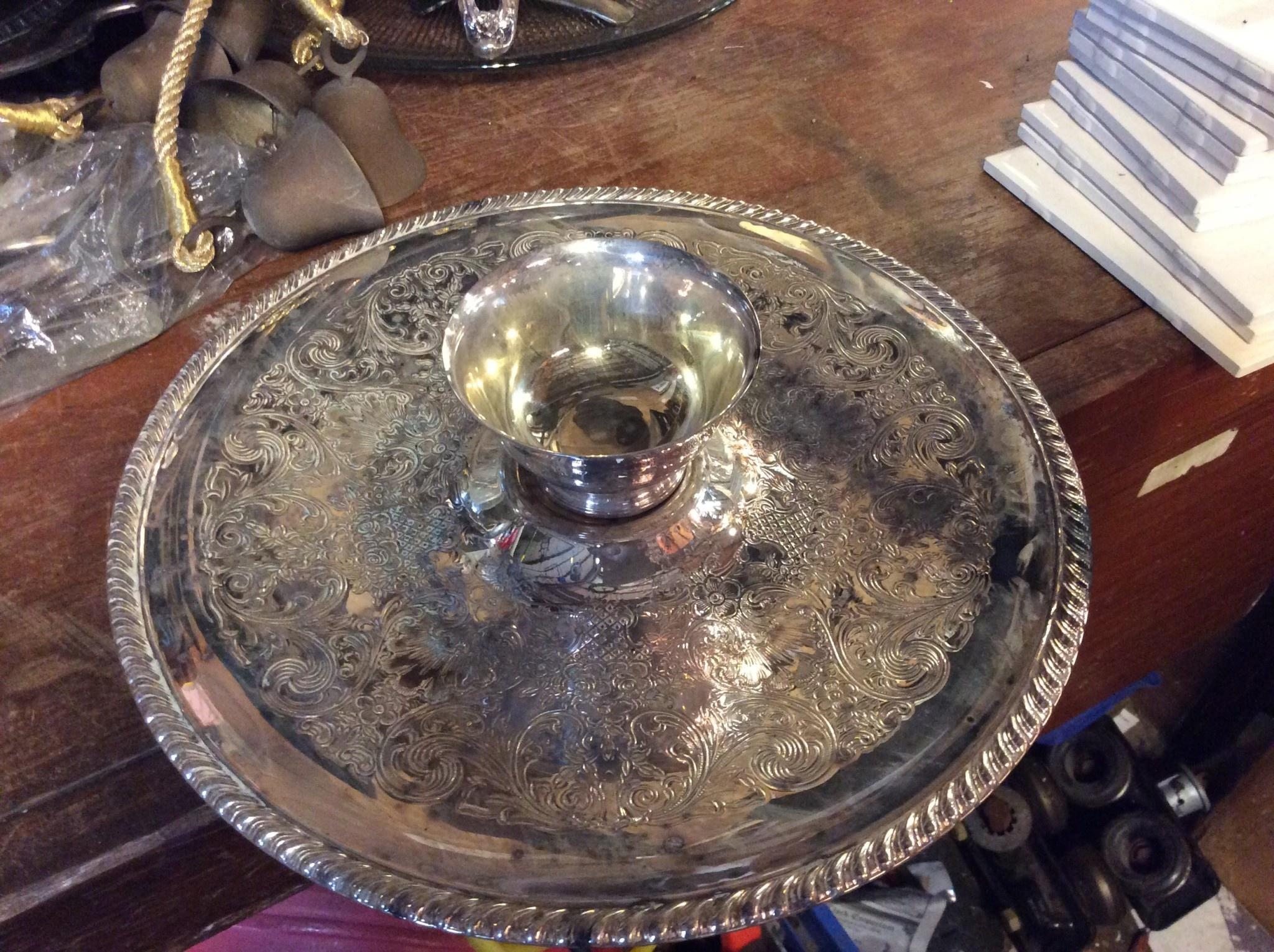 Pewter Tray W/ Dipping Cup