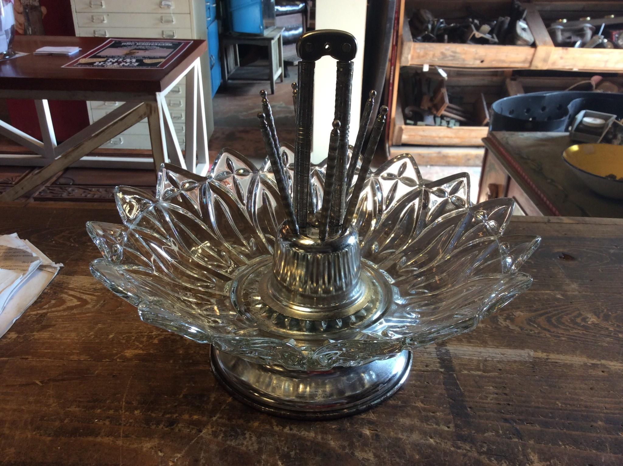 Glass bowl nut cracker set
