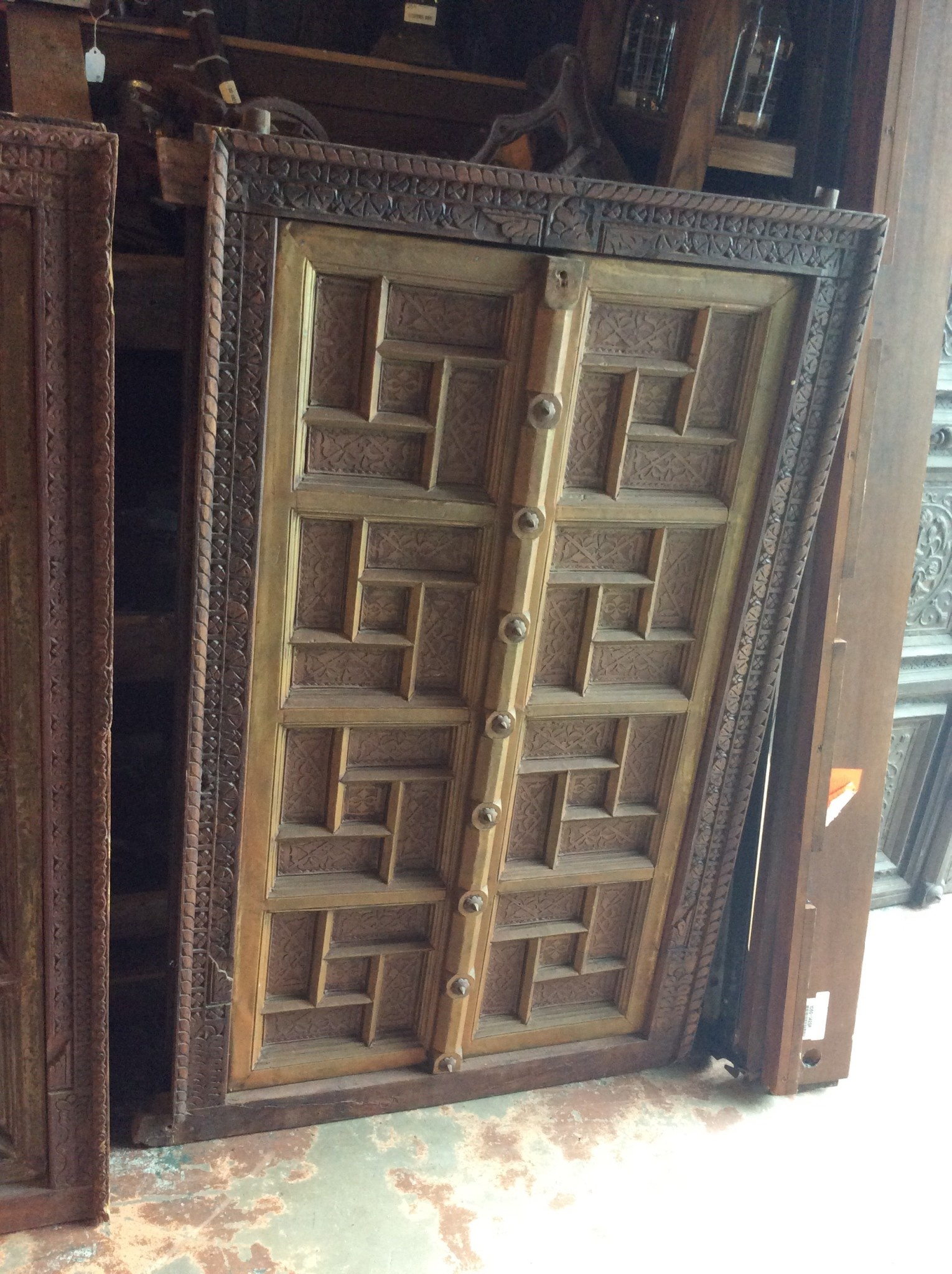 Carved wood and brass 4' door
