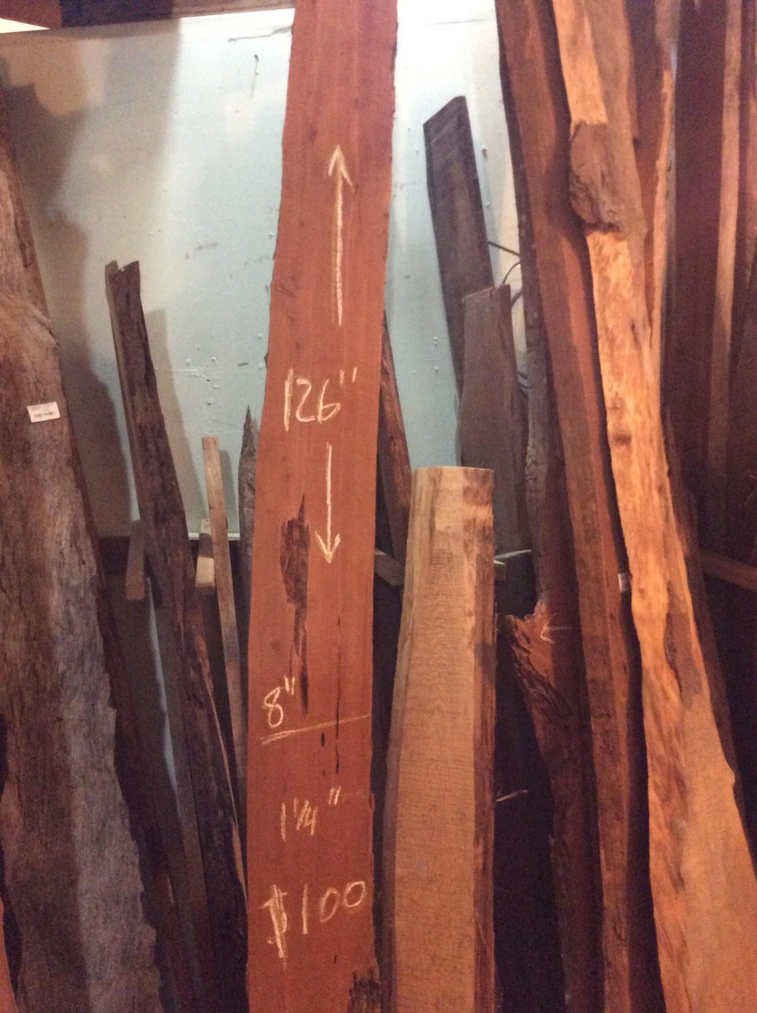 """Cedar Slab 126"""" x 8"""" x 1 1/4"""""""