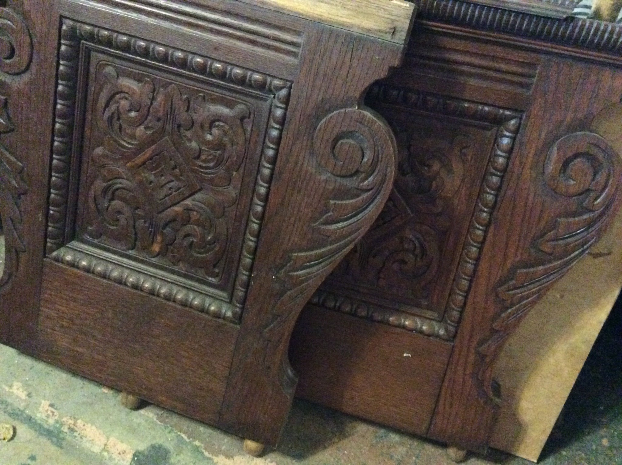 SET OF CARVED WOOD BENCH LEGS (PAIR)