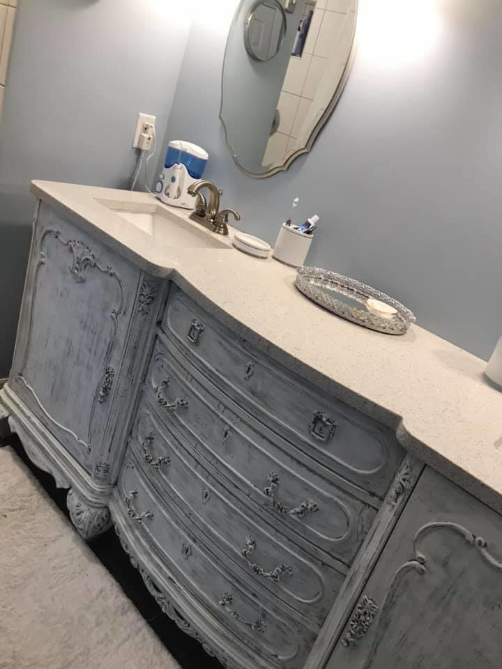 Faux Finish Vanity with Granite Top