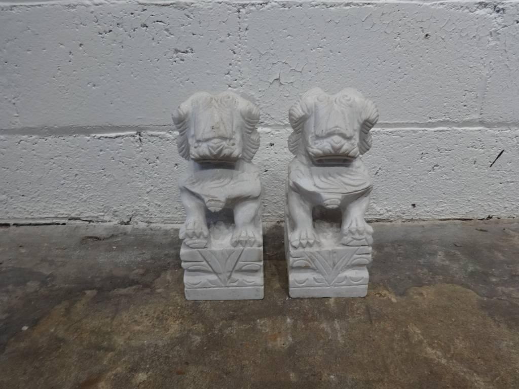 Asian Marble Dog Sculpture Medium PAIR