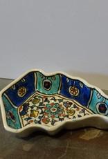 Hand Crafted Blue Green Leaf Bowl