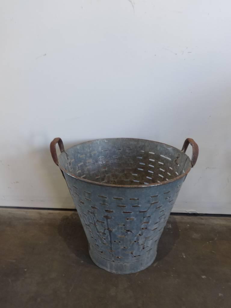 Industrial Metal Bucket Olive Strainer