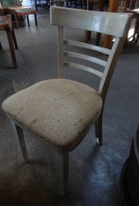 White Distressed /Vintage Burlap Chair
