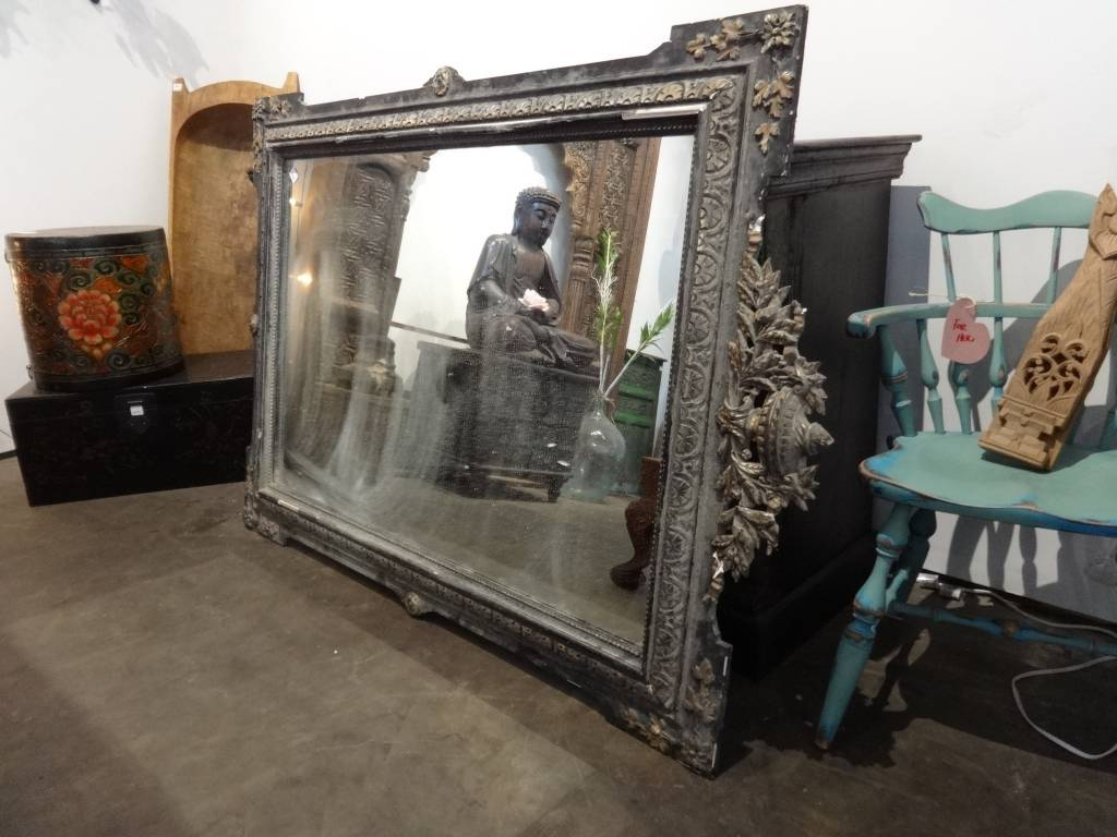 Antique Black French Mirror