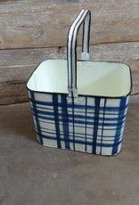 Blue & White Plaid Rectangular Metal Bucket