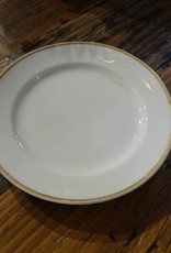 "8.5"" White China Plate w Gold Rim"