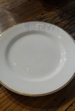 "10"" White China Plate w Gold Rim"