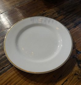 "10"" White China Plate w Gold Rim"