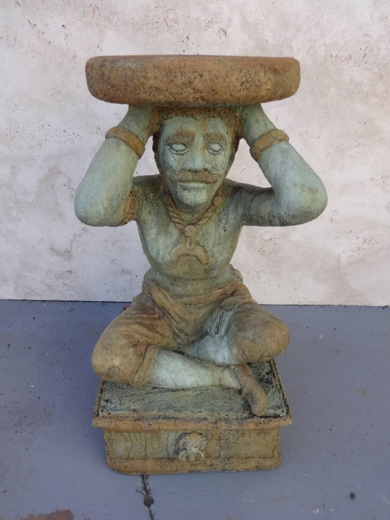 Man Holding Pillar