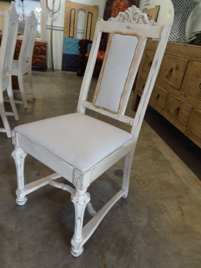 White Wash Chair W/ Rope