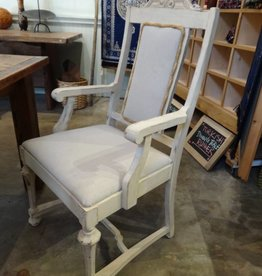 White Wash Arm Chair W/ Rope