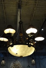 Large Iron 6 Shade Chandelier