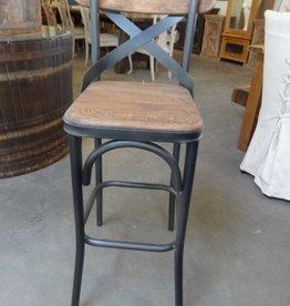 Reclaimed Pine and Metal Bar Stool
