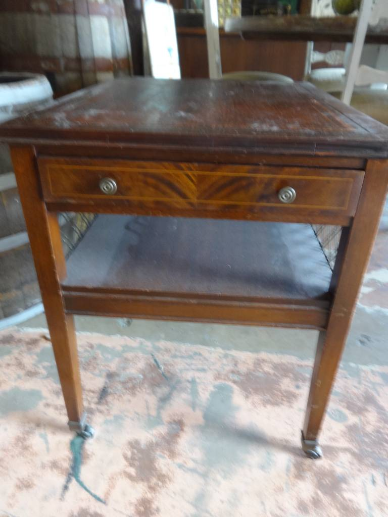 Genuine Mahogany Side Table w Casters