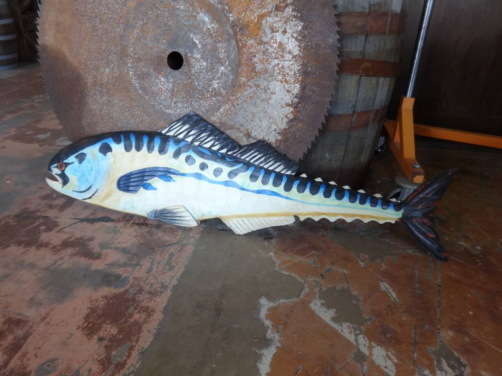 Hand Painted Large Flat Blue & Yellow Fish 48X14