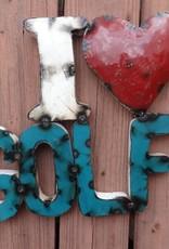 I Love Golf Tin Sign 14x15