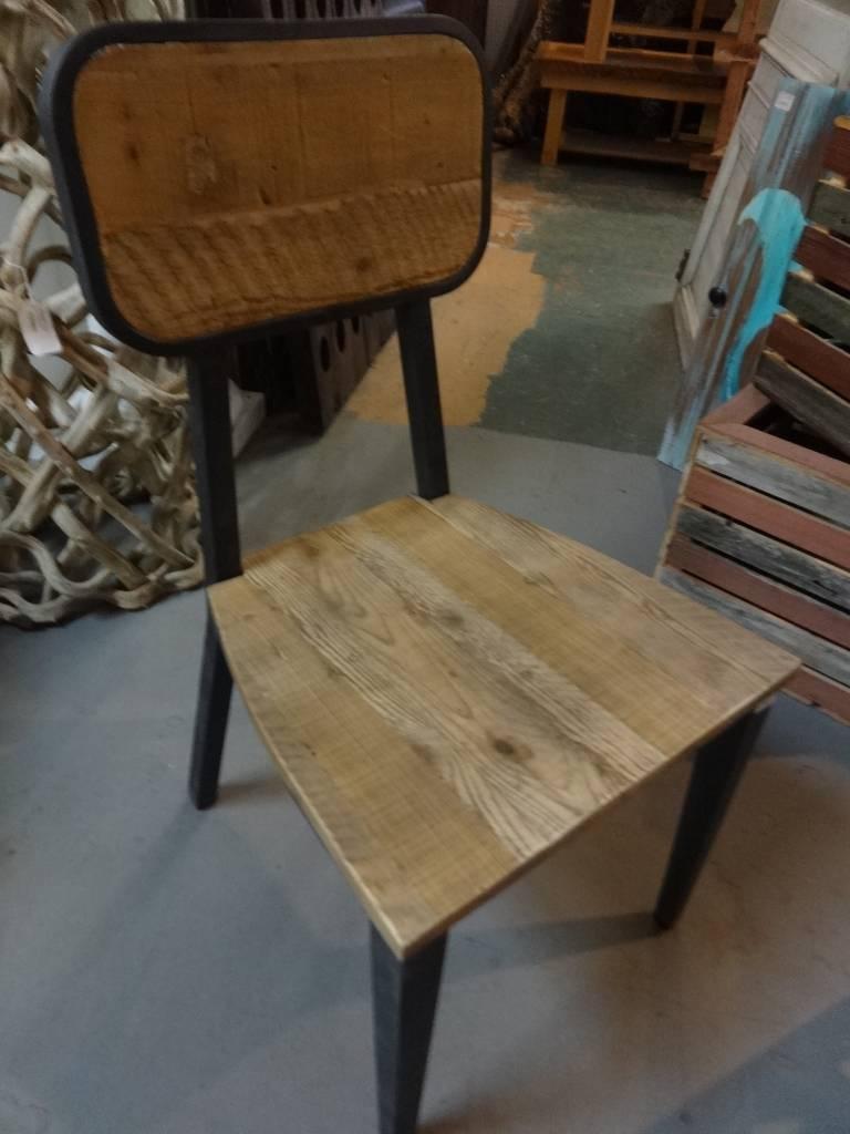 Pine Modern Side Chair w/ Iron Base