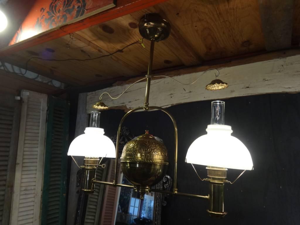 Brass Gas Lamp Chandelier