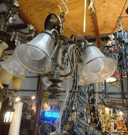 5 Light Curved Arm Brass Chandelier