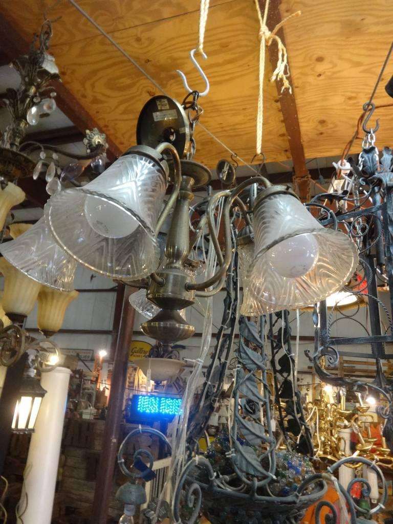 5 Light Curved Arm Brass Chandelier
