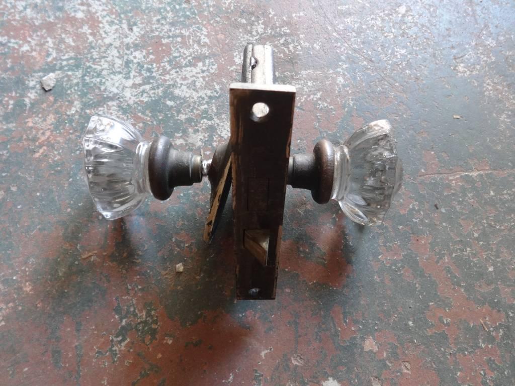 Oval Crystal Door Knob Set