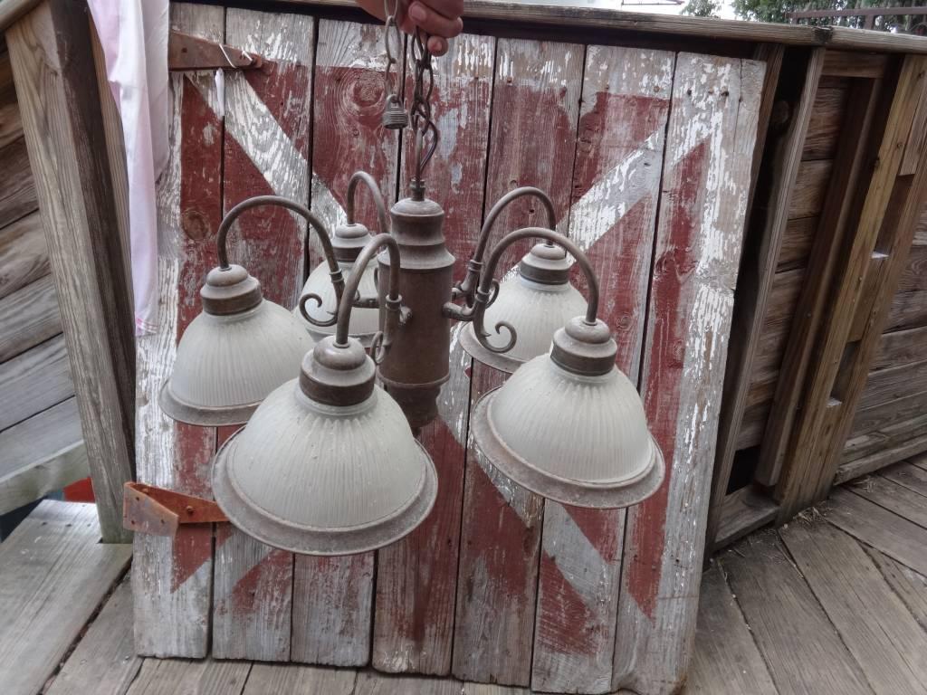 Vintage 5 Light Brass Chandelier w/ Glass Globes