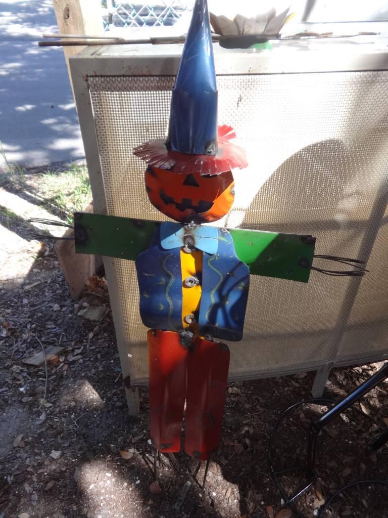 Large Tin Scarecrow w/ Pumpkin Head 43x24