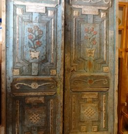 Egyptian Blue Hand Carved Floral Door