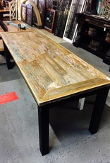 "7' x 30"" Angle Cut Cypress Panel Modern Table"