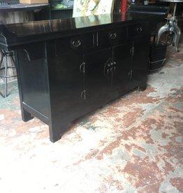 Black 3 Drawer 2 Door Asian Console