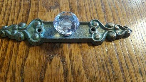 Antiqued Green Crystal Pull