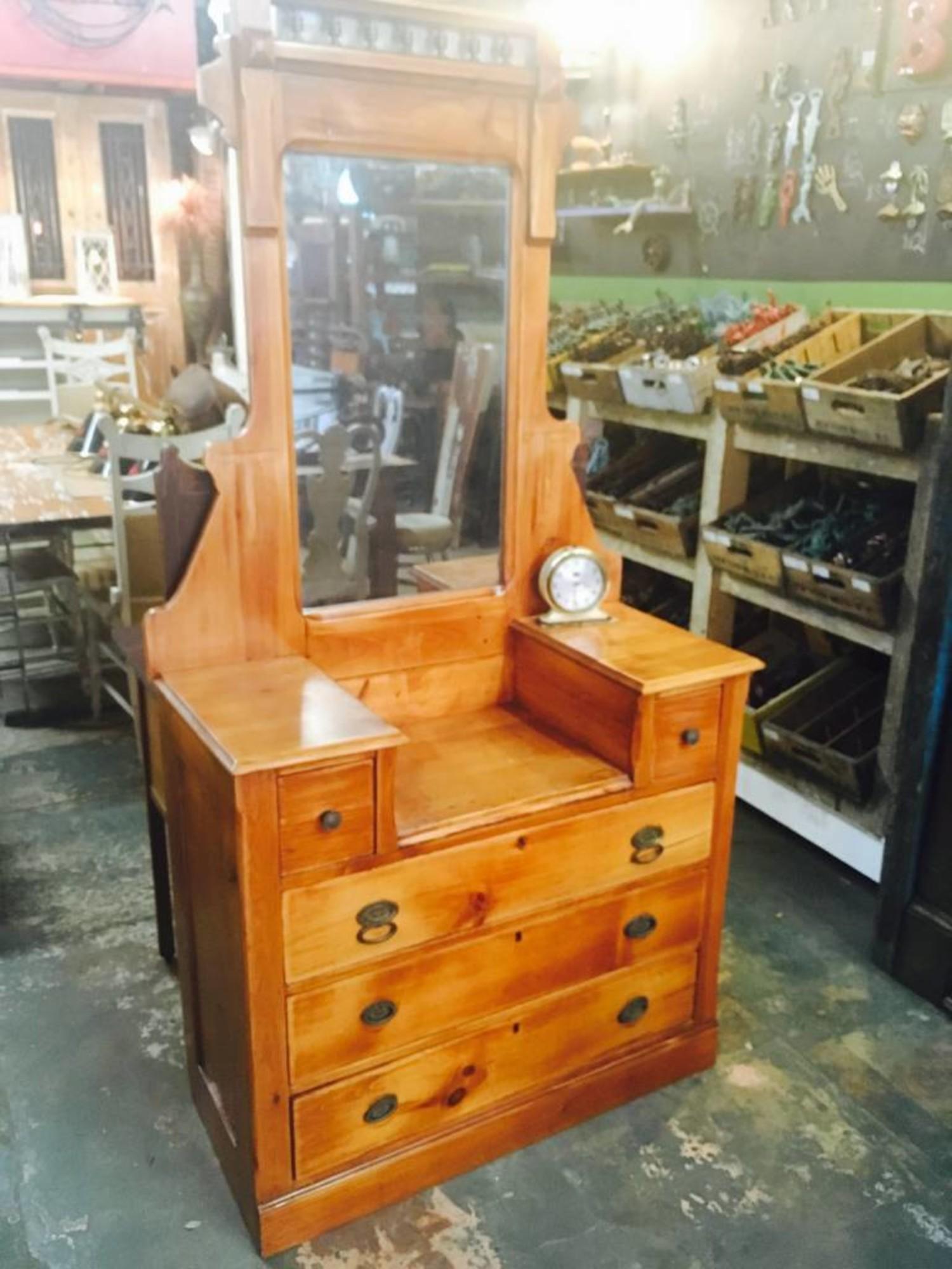 Antique Victorian Dresser W Mirror