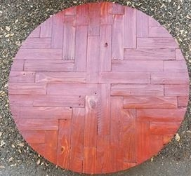 "42"" Red Stained Cypress Round"
