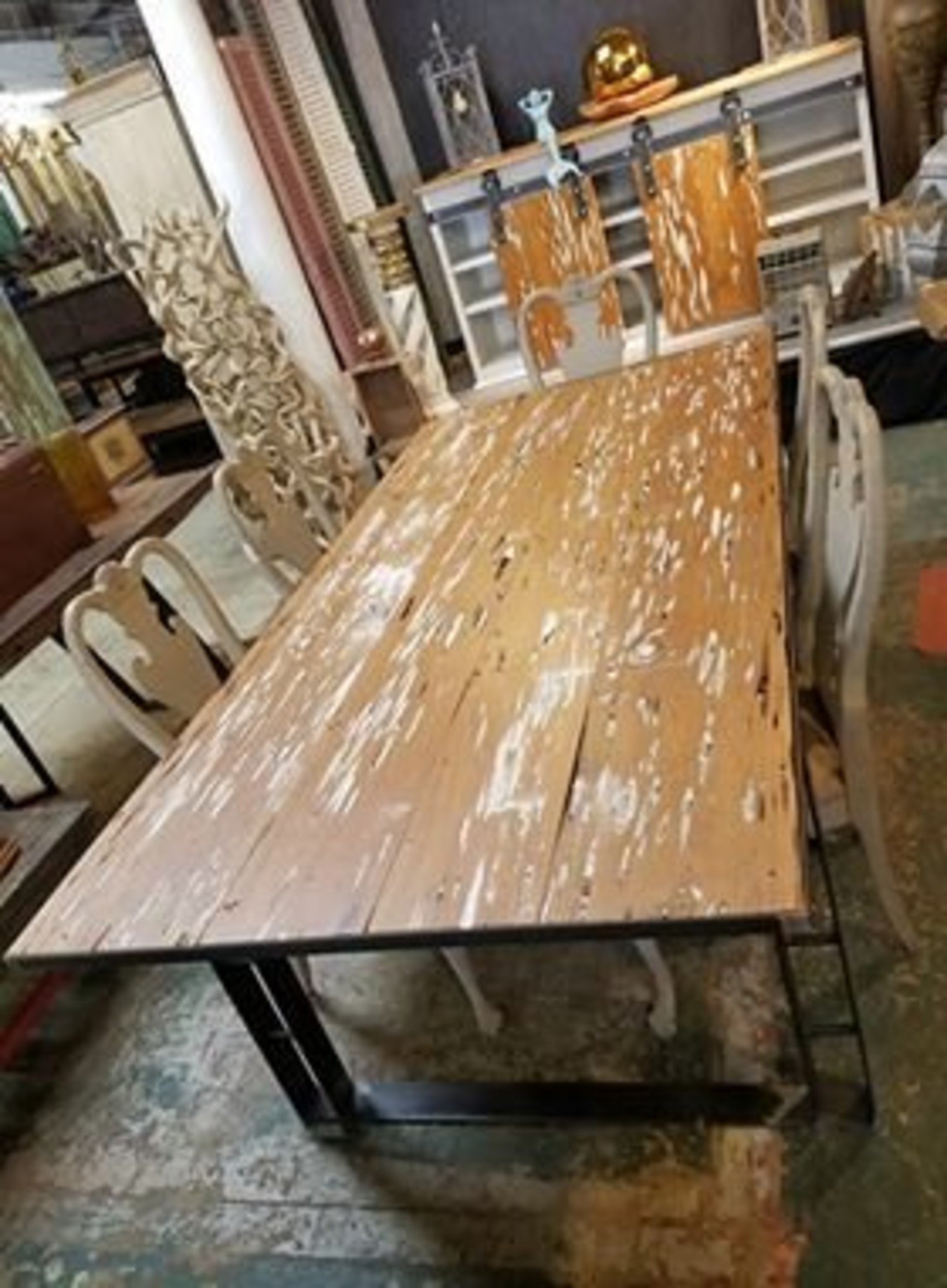 Pecky Cypress Custom Iron Base Dining Table