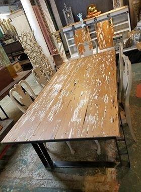 Pecky Cypress/Custom Iron Base Dining Table
